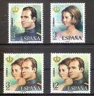 Briefmarke Spanien Mi.Nr. 2195-2198 ** Proklamation von Juan Carlos I. zum König von Spanien 1975 (Kompletter Satz!) Motiv: Könige - König Juan Carlos I., Königin Sophia, Königspaar (#10095)