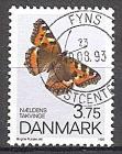 Briefmarke Dänemark Mi.Nr. 1048 o Schmetterlinge 1993 Motiv: Schmetterlinge - Kleiner Fuchs (Aglais urticae) (#10099)