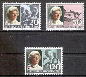 Briefmarke Liechtenstein Mi.Nr. 875-877 ** Fürstin Gina von Liechtenstein, 40 Jahre Präsidentin des Liechtensteinischen Roten Kreuzes 1985 Motiv: Rotes Kreuz - Fürstin Gina - Flüchtlingshilfe, Rettungsdienst, Flüchtlingskinder (#10106)
