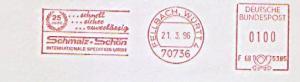 Freistempel F68 5385 Fellbach, Württ - Schmalz + Schön - Internationale Spedition GmbH - 25 Jahre schnell sicher zuverlässig (#1397)