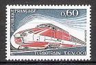 Briefmarke Frankreich Mi.Nr. 1883 ** Turbotrain Gasturbinenzug 1974 Motiv: Eisenbahn - Fünfteilige turbo-elektrische Schnellfahr-Versuchstriebwageneinheit TGV 001 der SNCF (#10120)