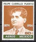 Briefmarke Mexiko Mi.Nr. 1432 ** 100. Geburtstag von Felipe Carrillo Puerto 1974 Motiv: Gewerkschaften - Felipe Carrillo Puerto (1874-1924), Gewerkschaftsführer (#10125)