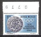 Briefmarke Mexiko Mi.Nr. 1195 ** Olympiade Mexiko 1968 Motiv: Sport - Kalksteinplatte mit kultischem Pok-a-tok-Ballspieler (#10129)