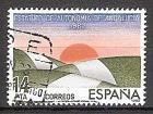 Briefmarke Spanien Mi.Nr. 2572 o Autonomiestatut für Andalusien 1983 Motiv: Landschaft in den Farben der andalusischen Flagge, Sonne (#10132)