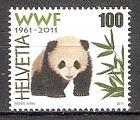 Briefmarke Schweiz Mi.Nr. 2189 ** 50 Jahre Naturschutzorganisation WWF 2011 Motiv: Tiere / Bären - Riesenpanda (Ailuropoda melanoleuca) (#10160)