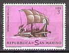 Briefmarke San Marino Mi.Nr. 752 ** Alte Segelschiffe 1963 Motiv: Schiffe - Römisches Segelboot mit Ruderern (#10162)