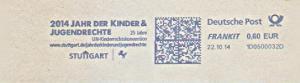 Freistempel 1D0500032D Stuttgart - 2014 Jahr der Kinder & Jugendrechte - 25 Jahre UN Kinderschutzkonvention (#1476)