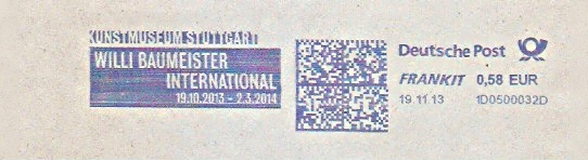 Freistempel 1D0500032D Stuttgart - Kunstmuseum Stuttgart - WILLI BAUMEISTER INTERNATIONAL 19.10.2013 - 2.3.2014 (#1477) 0