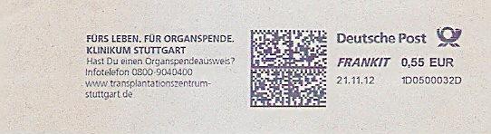 Freistempel 1D0500032D Stuttgart - Klinikum Stuttgart - Fürs Leben. Für Organspende. Hast Du einen Organspendeausweis ? (#1478) 0