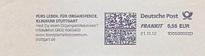 Freistempel 1D0500032D Stuttgart - Klinikum Stuttgart - Fürs Leben. Für Organspende. Hast Du einen Organspendeausweis ? (#1478)