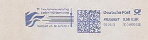 Freistempel 1D0500032D Stuttgart - 11. Landesfeuerwehrtag Baden-Württemberg - Stuttgart 22.-30. Juni 2013 (Abb. Flammen, Fernsehturm) (#1480)