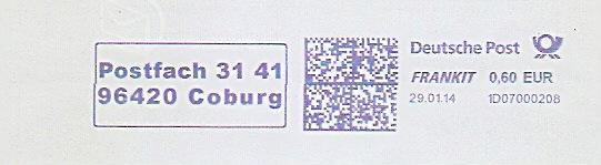 Freistempel 1D07000208 Coburg - Postfach 31 41 (#1486) 0