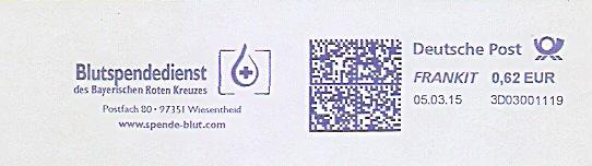 Freistempel 3D03001119 Wiesentheid - Blutspendedienst des Bayerischen Roten Kreuzes (Abb. Blutstropfen, Rotes Kreuz) (#1488) 0