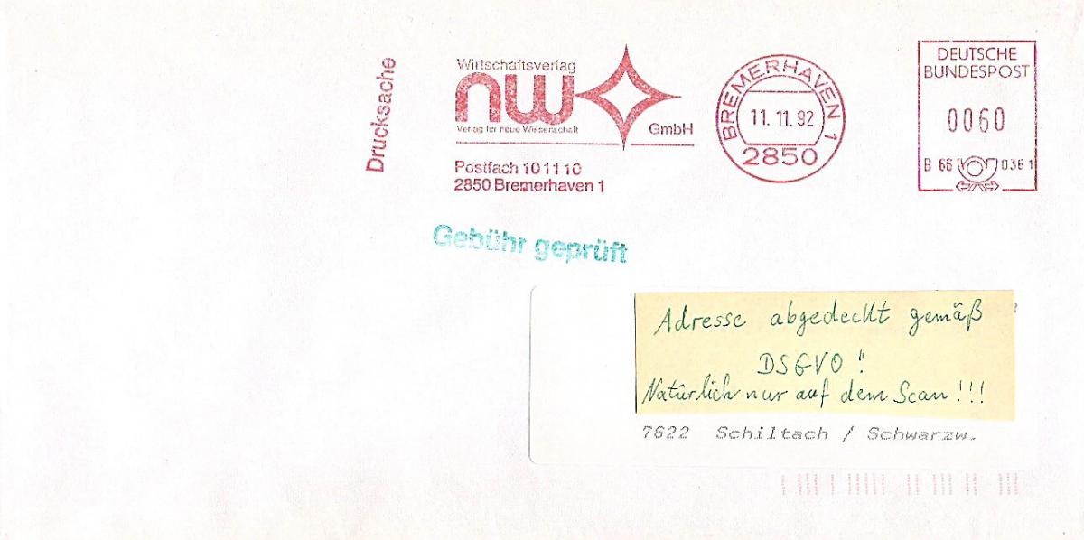 Freistempel B66 0361 Bremerhaven - NW Wirtschaftsverlag - Verlag für neue Wirtschaft GmbH (#AFS25) 0