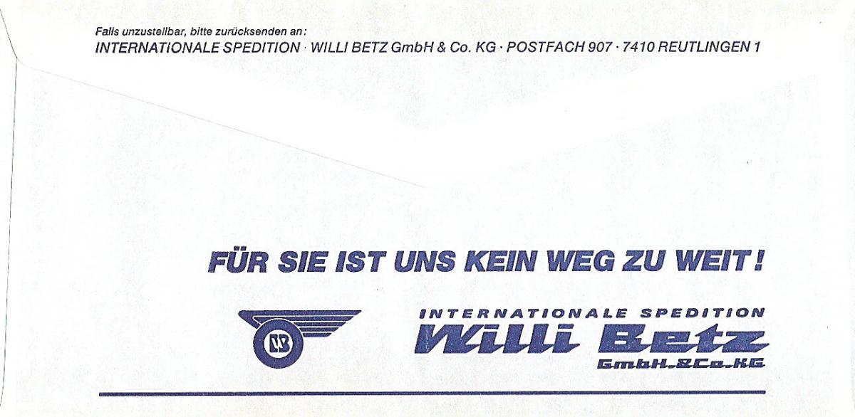 Freistempel B66 3660 Reutlingen - Willi Betz - Internationale Spedition (#AFS26) 1