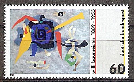 Briefmarke BRD - Bund Mi.Nr. 1403 ** 100. Geburtstag von Willi Baumeister 1989 Motiv: Gemälde - Bluxao I (#10163) 0