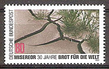 """Briefmarke BRD - Bund Mi.Nr. 1404 ** 30 Jahre kirchliche Hilfsorganisationen """"Misereor"""" und """"Brot für die Welt"""" 1989 Motiv: Durch Dürre aufgebrochene Erde (#10164) 0"""