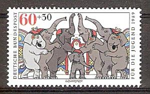 Briefmarke BRD - Bund Mi.Nr. 1411 ** Zirkus 1989 Motiv: Zirkus - Elefantengruppe (#10168)