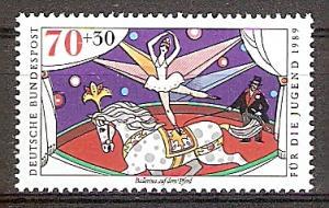 Briefmarke BRD - Bund Mi.Nr. 1412 ** Zirkus 1989 Motiv: Zirkus - Ballerina auf Pferd (#10169)
