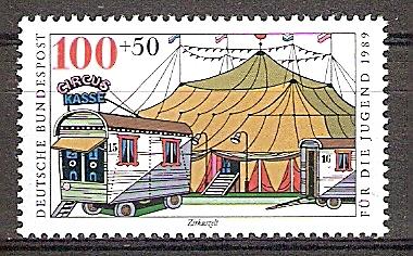 Briefmarke BRD - Bund Mi.Nr. 1414 ** Zirkus 1989 Motiv: Zirkus - Zirkuszelt (#10170) 0