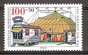 Briefmarke BRD - Bund Mi.Nr. 1414 ** Zirkus 1989 Motiv: Zirkus - Zirkuszelt (#10170)