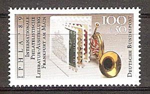 Briefmarke BRD - Bund Mi.Nr. 1415 ** Weltausstellung für philatelistische Literatur IPHLA '89 in Frankfurt am Main. Motiv: Philatelie - Buch, Posthorn (#10171)