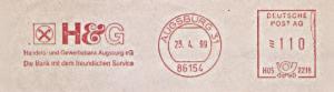 Freistempel H05 2218 Augsburg - H&G Handels- und Gewerbebank Augsburg eG - Die Bank mit dem freundlichen Service (#1502)