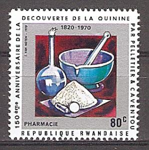 Briefmarke Ruanda Mi.Nr. 409 A ** 150. Jahrestag der Entdeckung des Chinins 1970 - Motiv: Medizin - Pharmazie (#10191)
