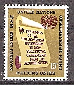Briefmarke UNO New York Mi.Nr. 157 ** Freimarken 1965 - Motiv: UNO - Präambel der Charta der Vereinten Nationen (#10193)