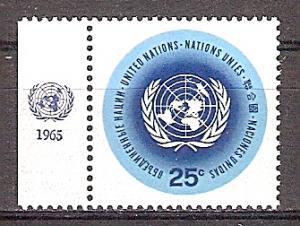 Briefmarke UNO New York Mi.Nr. 159 x ** Freimarken 1965 (Randstück mit Jahreszahl) - Motiv: UNO - UNO-Emblem (#10195)