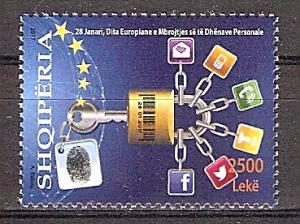 Briefmarke Albanien Mi.Nr. 3575 ** Europäischer Datenschutztag 2017 - Motiv: Datenschutz - Vorhängeschloss, Symbole für Kommunikationsmedien (#10196)