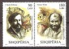 Briefmarke Albanien Mi.Nr. 3581-3582 ** Paar !!! RRR ! Persönlichkeiten 2018 - Motiv: Persönlichkeiten - Claude Debussy (Komponist), Gustav Klimt (Maler) (#10197)