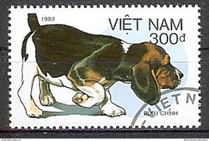 Briefmarke Vietnam Mi.Nr. 2079 o Hunderassen 1989 Motiv: Hunde - Basset (del1#0030)