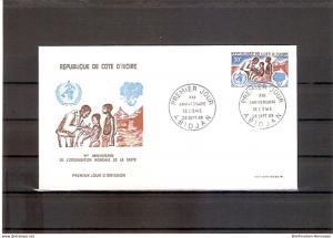 Briefmarke Elfenbeinküste Mi.Nr. 335 FDC 20 Jahre Weltgesundheitsorganisation (WHO) 1968 Motiv: Medizin - Arzt mit Impflingen; Emblem der Weltgesundheitsorganisation, Elefantenkopf (fdc18)