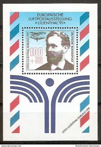 Briefmarke BRD - Bund Mi.Nr. Block 24 ** Otto Lilienthal 1991 - Motiv: Flugzeuge - Otto Lilienthal (1848-1896), Flugpionier; Lilienthal-Gleiter Nr. 13 (2015979)