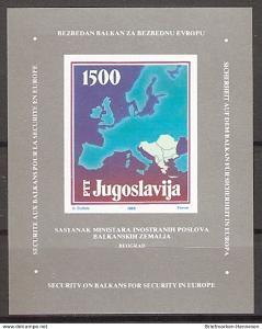Briefmarke Jugoslawien Mi.Nr. Block 31 ** Außenminister-Konferenz der Balkanländer, Belgrad 1988 (2015531)