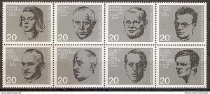 Briefmarke BRD - Bund Mi.Nr. 431-438 ** 20. Jahrestag des Attentats auf Adolf Hitler 1964 / Zusammendruck ungefaltet aus Block 3 (2019101)