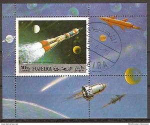 Briefmarke Fujeira Mi.Nr. Block 102 A o Erforschung des Weltraums 1972 Motiv: Weltraum - Wostok (2015953)