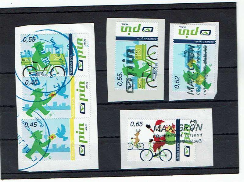 Privatpostanstalt pin, fünf versch Marken auf Briefstück: 0,45, 0,52, 0,55, 0,58, 0,68 Cent (old8)