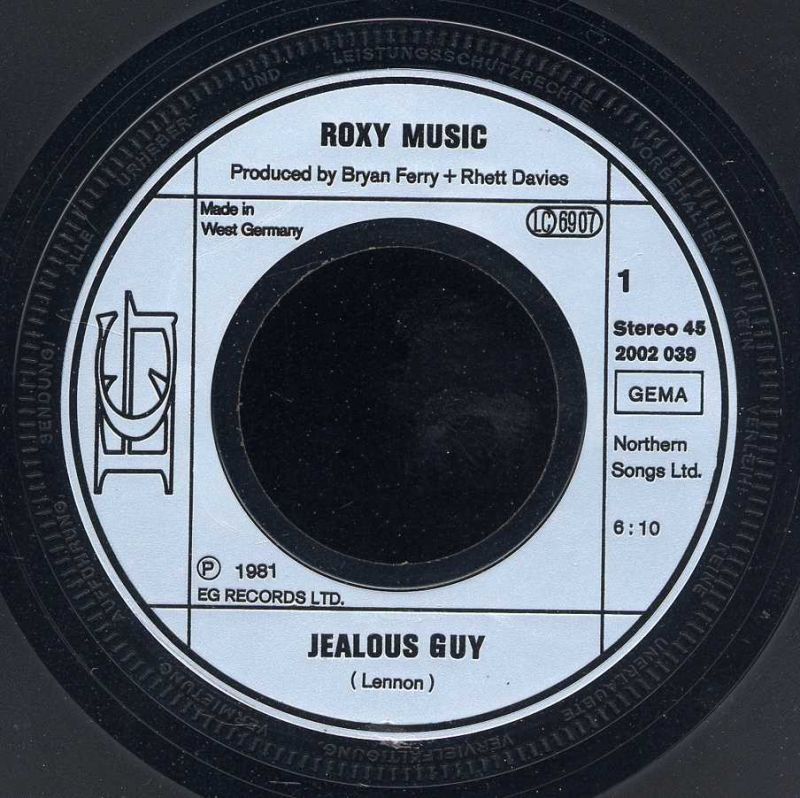 Vinyl-Single: <br><br>Roxy Music: <br>Jealous Guy - A Tribute / The Same Old Scence </b><br>EG 2002 039, (P) 1980  2
