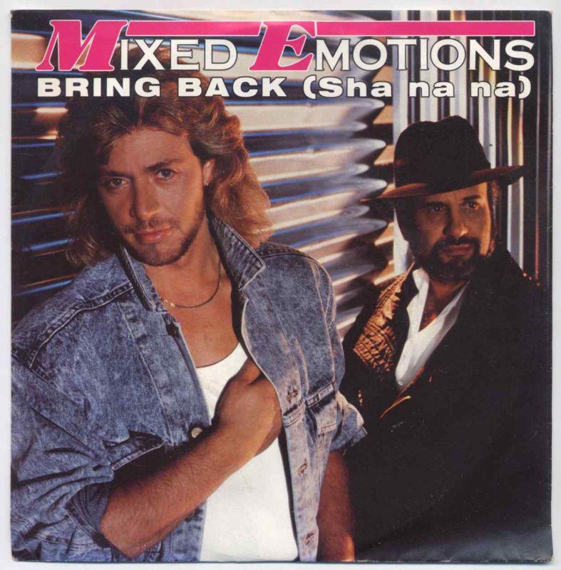 Vinyl-Single: <b><br>Mixed Emotions <br>Bring Back (Sha na na) / Bring Back Sha na na (Instrumental) </b><br>Electrola 1 C 006 14 7243 7, (P) 1986 <br>EAN 5099914724374