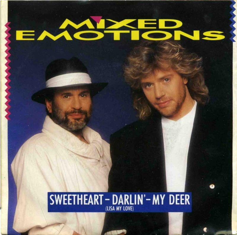 Vinyl-Single: <b><br>Mixed Emotions (Oliver Simon & Drafi Deutscher) <br>Sweetheart - Darlin\' - My Deer / Love Is So Easy Now </b> <br>Electrola 1 C 006 14 7280 7, (P) 1987 <br>EAN 5099914728075