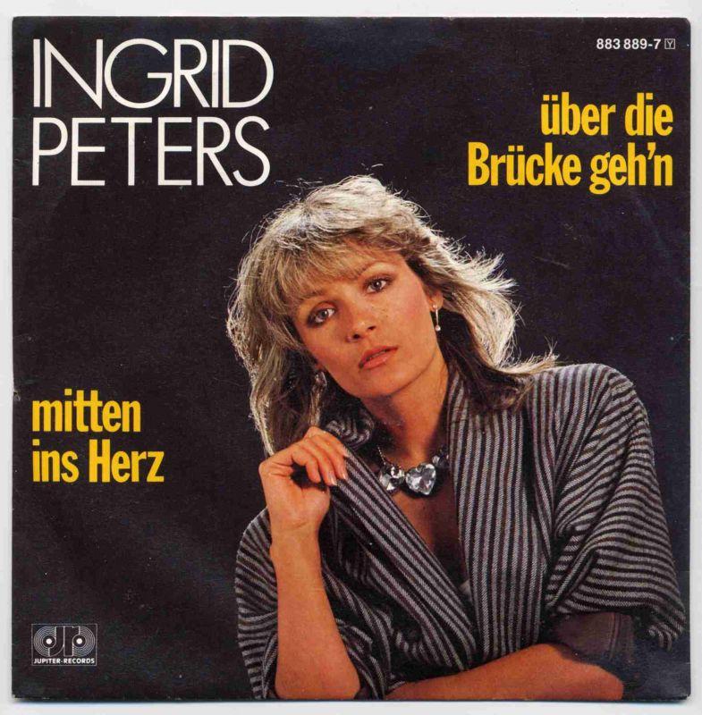 Vinyl-Single: <br><b>Ingrid Peters: <br>Über die Brücke geh\'n / Mitten ins Herz </b><br>Jupiter Records 883 889-7, (P) 1986 <br>Der Titel belegte den 6. Platz beim Eurovision Song Contest in Bergen