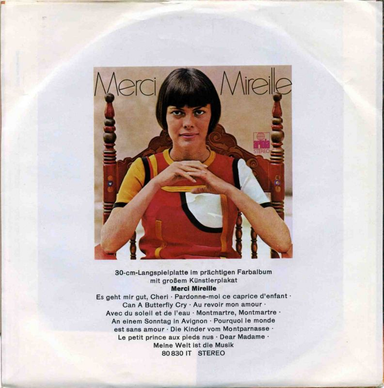 Vinyl-Single: <b><br>Mireille Mathieu: <br>Ganz Paris ist ein Theater / Die Kinder vom Montparnasse </b><br>Ariola 14 800 AT, (P) 1970  1
