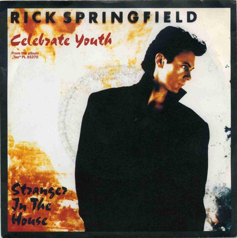 Vinyl-Single: <b><br>Rick Springfield: <br>Celebrate Youth / Stranger In The House </b><br>RCA PB 49987, (P) 1985 <br>EAN 5012394998776 0