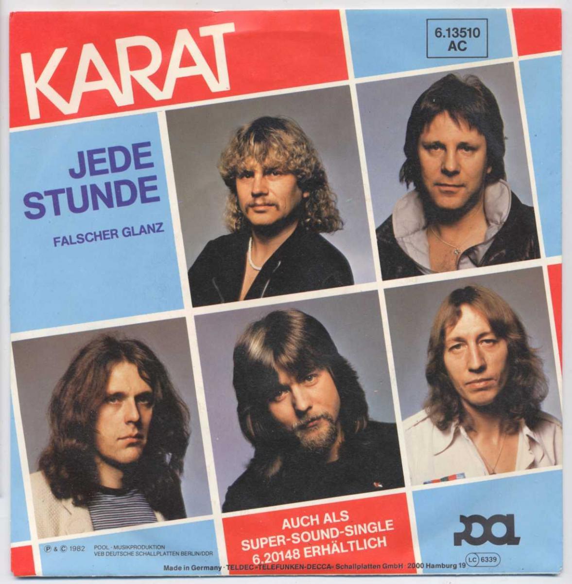Vinyl-Single: <b><br>Karat: <br>Jede Stunde / Falscher Glanz </b><br>Pool 6.13510 AC, (P) 1982