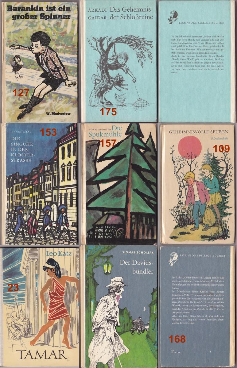 Robinsons Billige Bücher, 7 Stück