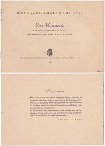 Mozart - Vier Menuette für drei Violinen(1. Lage)