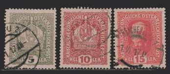 Österreich MiNr. 186 und 188 und 190  gestempelt
