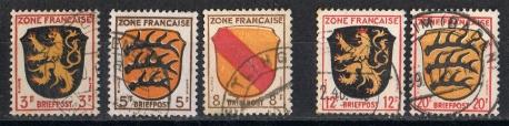 Französische Zone 1945  MiNr. 2, 3, 4, 6 und 8  gestempelt